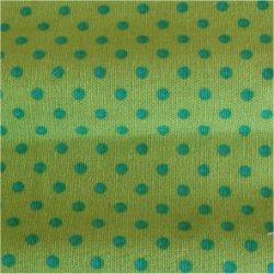 Tissu coton vert eau pois blanc 2 mm