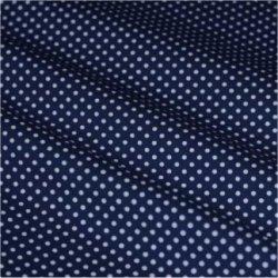 Tissu coton bleu marine pois blanc 2 mm