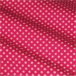 Tissu coton rose vif pois blanc 2 mm