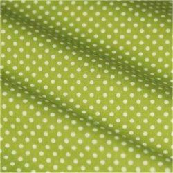 Tissu coton vert pois blanc 2 mm