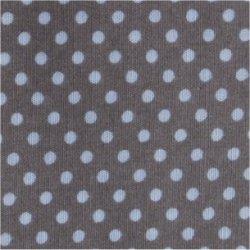 Tissu coton taupe pois blanc 2 mm