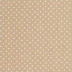 Tissu coton beige marron pois blanc 2 mm