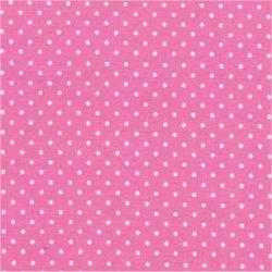 Tissu coton rose pois blanc 2 mm