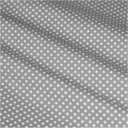 Tissu coton gris clair pois blanc 2 mm