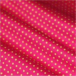 Tissu coton rose vif pois vert 2 mm