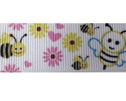 Ruban gros grain abeille 22 mm au mètre REF1