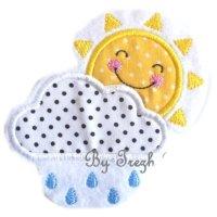 Appliqué broderie coton polaire ~ 10 cm / Soleil 1