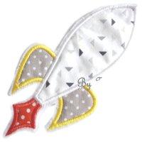 Appliqué broderie coton polaire ~ 10 cm / Fusée 2
