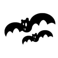 Appliqué Flex Hallowenn chauve-souris (lot2) / 10 et 6 cm
