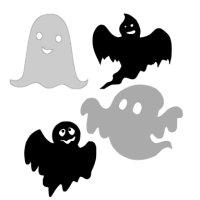 Appliqué Flex Halloween fantôme mini (lot4) / 5 cm