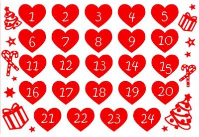 Flex thermocollant Thème calendrier de l'avent 1 / Format 4A Coeur de 4 x 3.5 cm