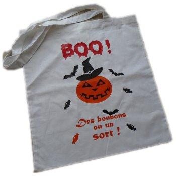Sac Tote Bag Halloween thème Citrouille