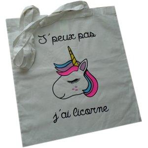 Sac Tote Bag j'peux pas j'ai Licorne