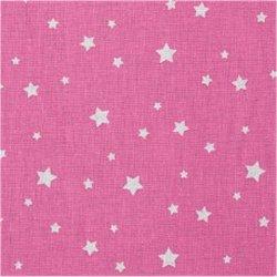 Tissu coton étoile gris rose or rond