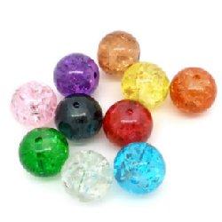 Perle ronde verre unie 10 mm/trou 1.4 (lot8)