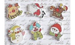 Bouton bois à coudre Noël (Lot de 4) ref1 ~3 cm