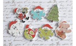Bouton bois à coudre Noël (Lot de 4) ref3 ~3 cm