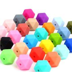 Perle silicone hexagone 15 mm unité