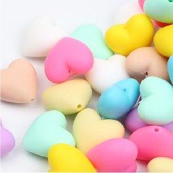 Perle silicone coeur ~ 20 mm unité