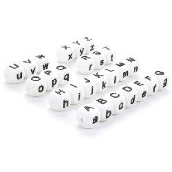 Perle silicone lettres ~ 15 mm unité