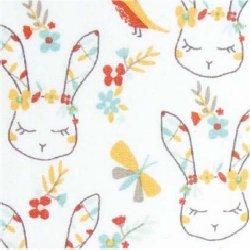 Tissu coton lapin oiseau