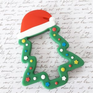 Anneau dentition silicone Sapin Noël 10.5x8 cm
