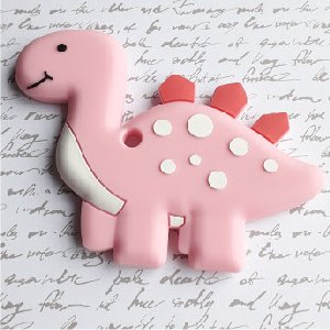 Anneau silicone dinosaure rose 10x7 cm