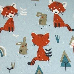 Tissu coton renard lapin fond bleu