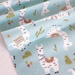 Tissu coton lama blanc vert eau
