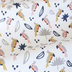 Tissu coton perroquet gris/jaune/rose