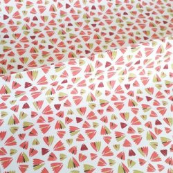 Tissu coton fleurs rose orange zantème