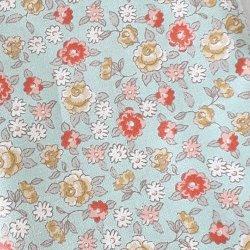 Tissu coton fleurs rose/bleu Style liberty