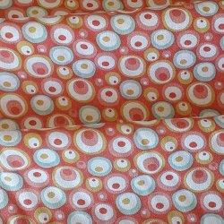 Tissu coton bulles pois corail/ciel