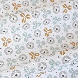 Tissu coton fleurs Kebull gris/or