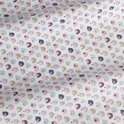 Tissu coton mini arc mauve/rose