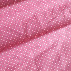 Tissu coton pois rose 2 mm