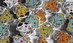 Bouton bois à coudre chat (ref1) Lot de 5  24 x 22 mm