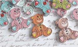 Bouton bois à coudre ourson (ref1) Lot de 5 24 x 29 mm